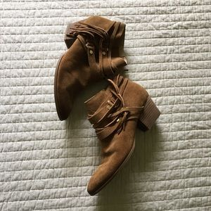 Franco Sarto Tan Fringe Booties